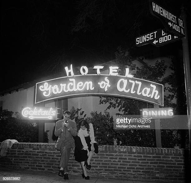 A couple sits outside the Garden of Allah hotel on Sunset and Havenhurst in Los AngelesCalifornia n