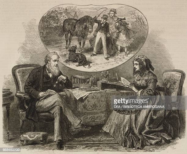 Couple sitting at table United Kingdom illustration from the magazine The Illustrated London News volume LX February 17 1872