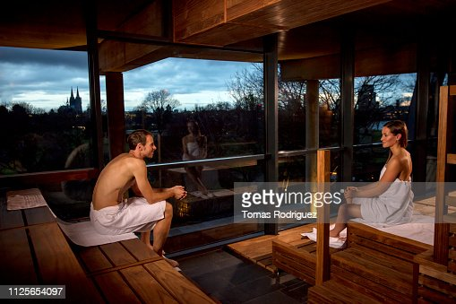 Naked Woman Relaxing On Bench At Sauna Stock Image - Image