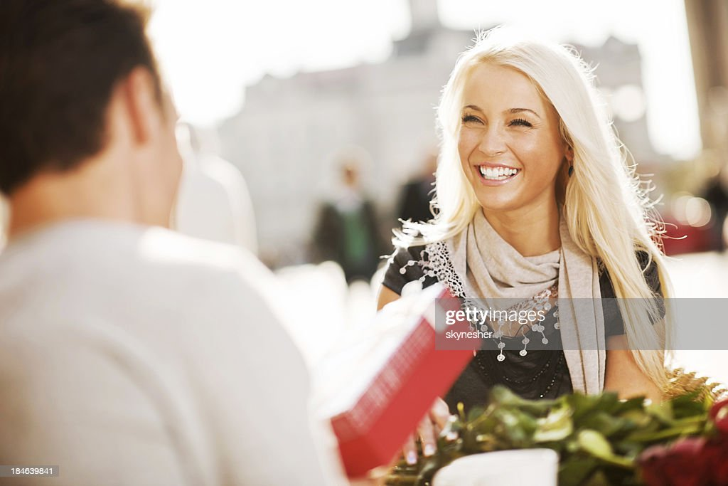 Couple sitting in cafe on a Valentine's Day : Stock Photo