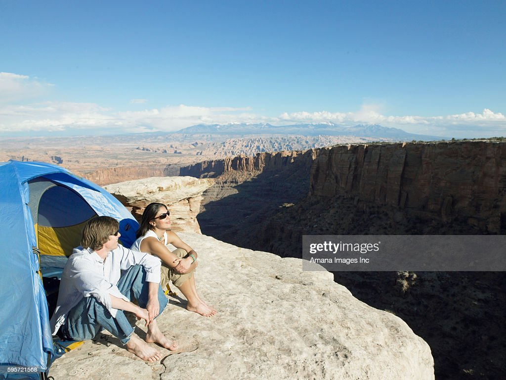 Keywords & Couple Sleeping In Tent By Cliff Moab Utah Usa Stock Photo | Getty ...