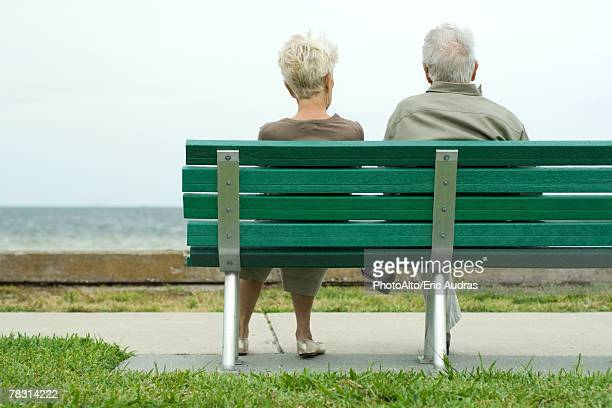 Couple sitting on bench looking at ocean, rear view