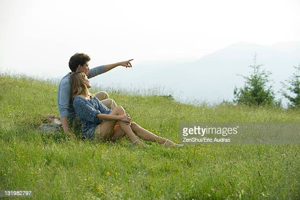 Couple sitting on meadow, man pointing toward distance