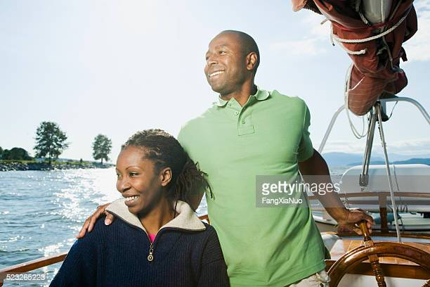 Couple Sitting on Sailboat