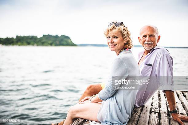 couple sitting on the jetty