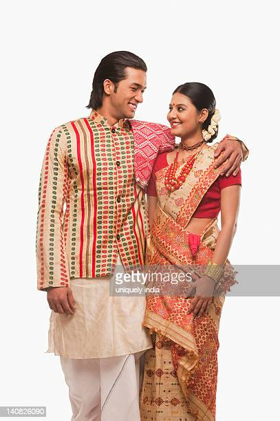couple smiling in traditional clothing - harvest festival stock pictures, royalty-free photos & images