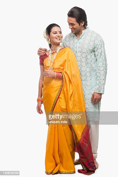 couple smiling on gudi padwa festival - gudi padwa stock pictures, royalty-free photos & images