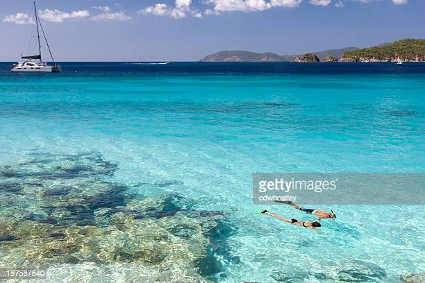 couple snorkeling in the Caribbean crystal clear water