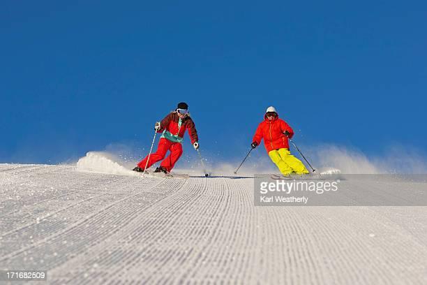 couple snow skiing - sun valley idaho stock photos and pictures
