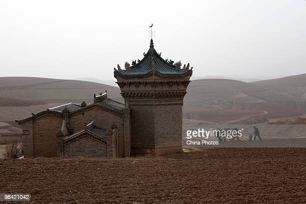 A couple sows seeds in a field near the Muslim domeshaped tombs on March 14 2010 in Xihaigu Tongxin County of Ningxia Hui Autonomous Region north...