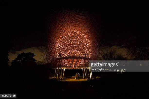 A couple stand underneath Wolfgang Buttress' illuminated Hive Installation at Kew Gardens on November 22 2016 in London England The worldfamous Royal...