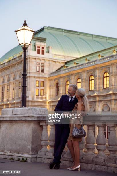 a couple standing arm in arm leaning against a balustrade during early evening in vienna. - イブニングウェア ストックフォトと画像