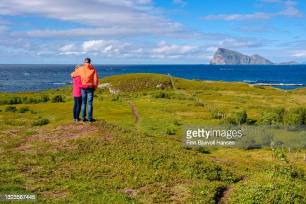 couple standing on a green field looking over the ocean at sommarøy northern norway - finn bjurvoll stock pictures, royalty-free photos & images