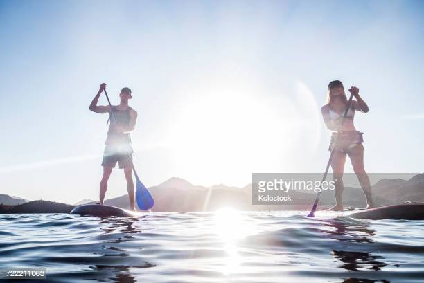 couple standing on paddleboards in river - wassersport stock-fotos und bilder
