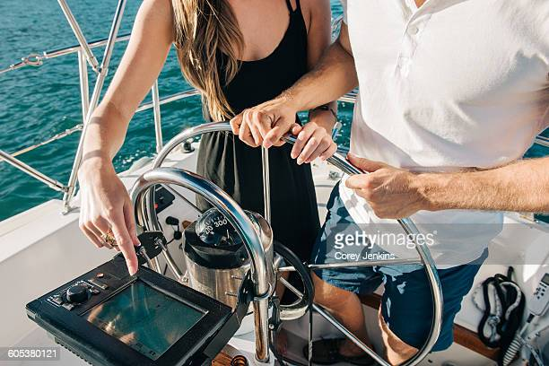 Couple steering wheel of sailboat