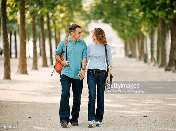 Couple strolling in the park