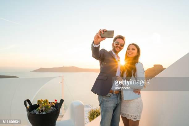 couple sunset selfie star shape evening greece