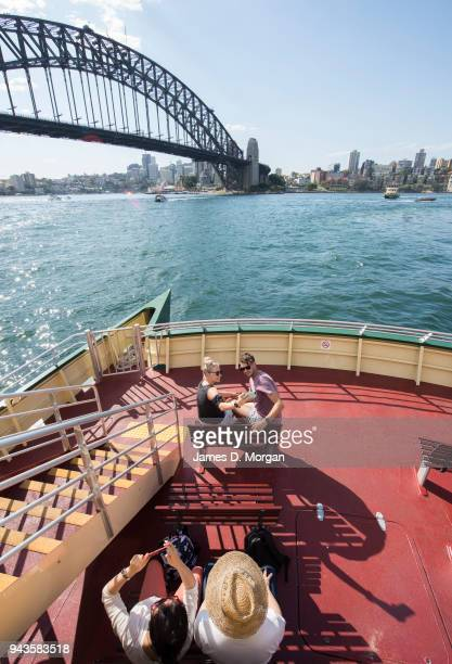A couple take a selfie on one of the Sydney ferries on April 9 2018 in Sydney Australia Sydney has been experiencing unseasonably high temperatures...