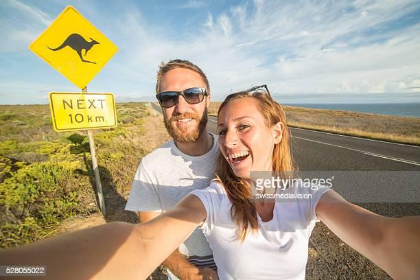 Couple take selfie portrait in Australia