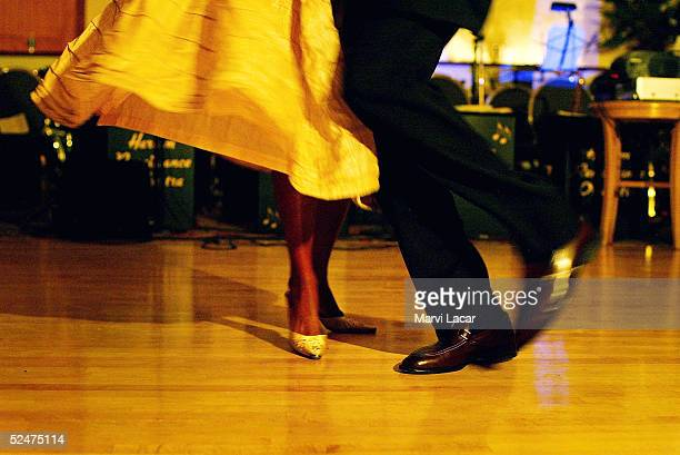 A couple take to the dance floor to celebrate Frankie Manning's 90th birthday during 'Swing into Harlem A Tribute to Frankie Manning' at the Alhambra...