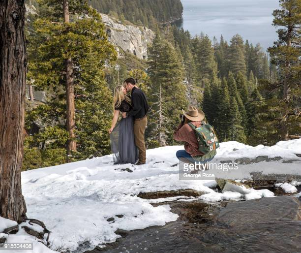 A couple takes their engagement photos at Eagle Falls located above scenic Emeral Bay on January 22 in South Lake Tahoe California Though a sixyear...