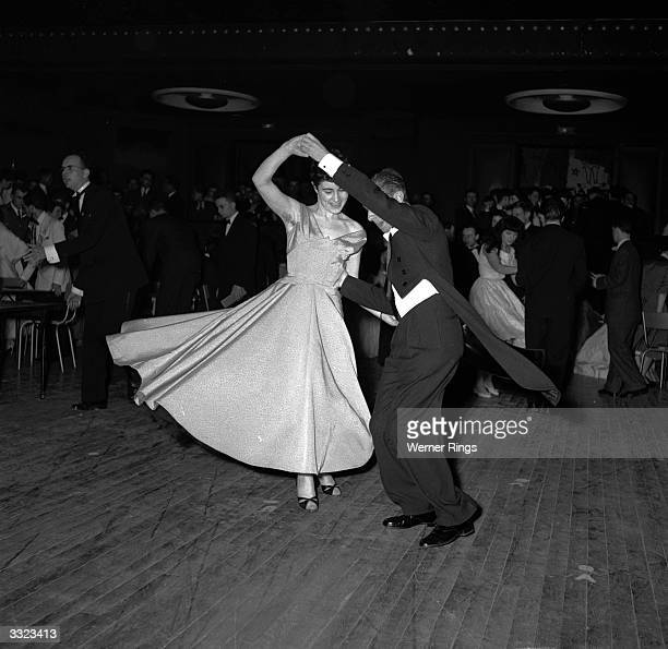 Couple takes to the floor at the Apollo Theatre in Paris, where the dance floor can be transformed into stalls with seating for 340 people within a...