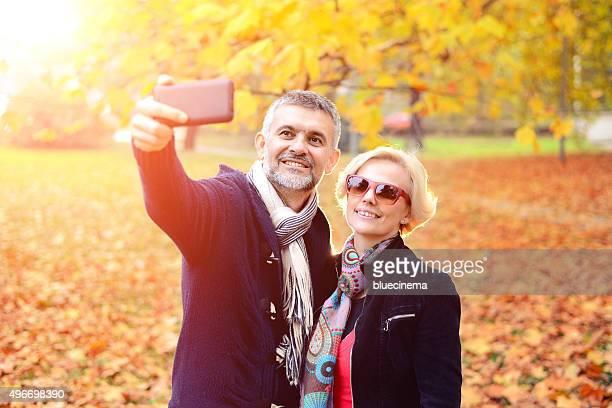 Paar, die ein selfie
