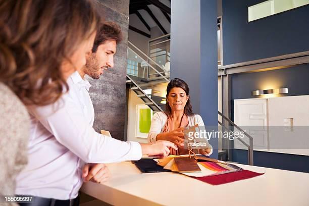 couple talking to their interior designer