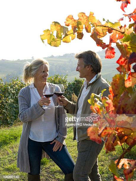 Couple toast with wine glasses in vineyard, autumn