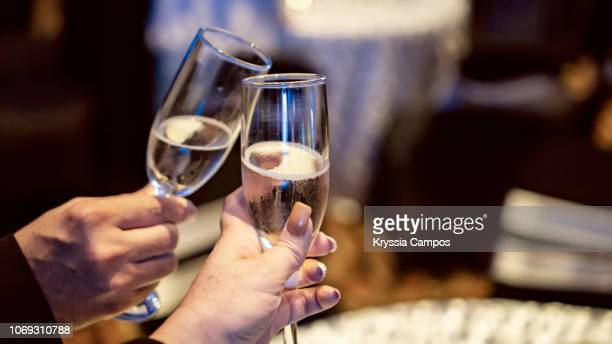 couple toasting with champagne at party - anniversary stock pictures, royalty-free photos & images