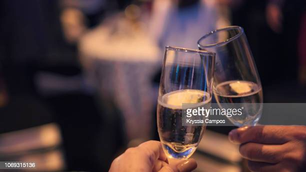 couple toasting with champagne at party - honour stock pictures, royalty-free photos & images