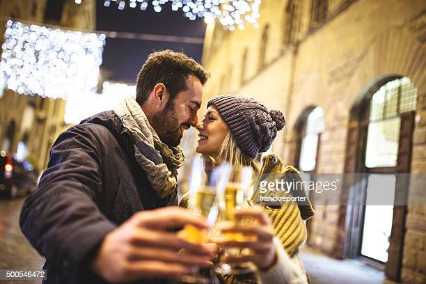 couple toasting with champagne the arrive of new year