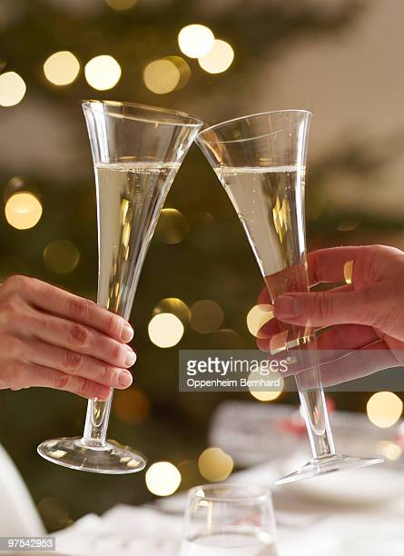 couple toasting with champaigne glasses