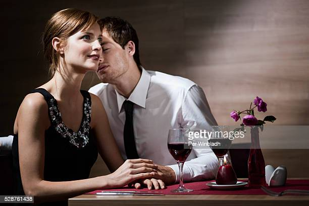 Couple together in a restaurant