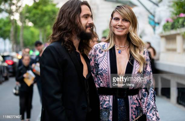 Couple Tom Kaulitz and Heidi Klum is seen outside Amfar dinner during Paris Fashion Week - Haute Couture Fall/Winter 2019/2020 on June 30, 2019 in...