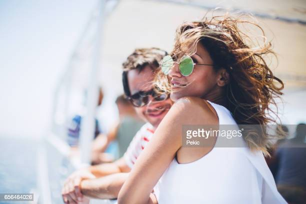 couple travel on cruise ship - ferry stock photos and pictures