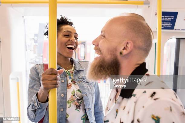 couple traveling on train together