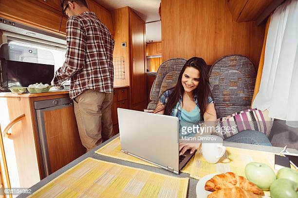 Couple traveling with campervan