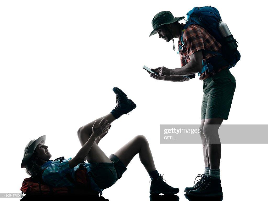 Par de senderismo Botas de montaña con lesión accidente naturaleza : Foto de stock