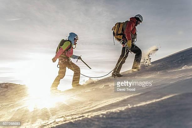 Couple trekking in the Austrian Alps