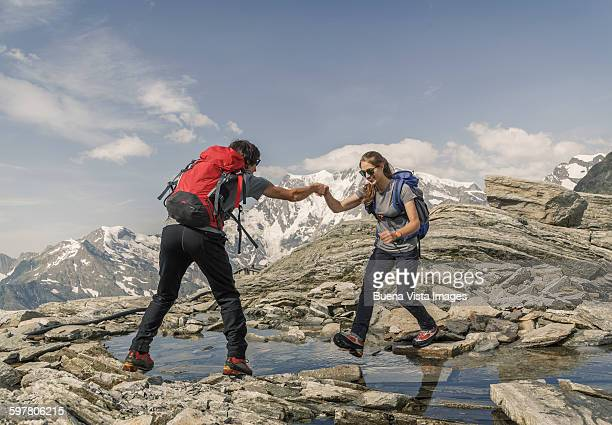 A couple trekking in the mountains