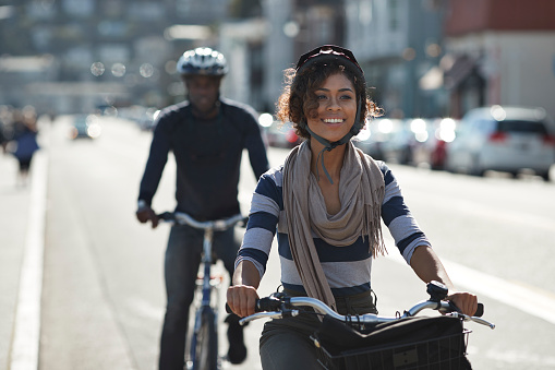 Couple using rental bikes in the small town Sausalito - gettyimageskorea