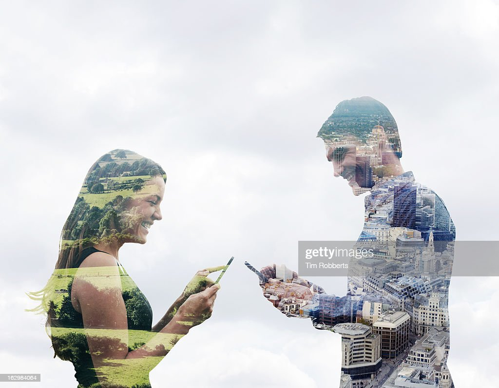 Couple using smart phones in different locations. : Stock Photo