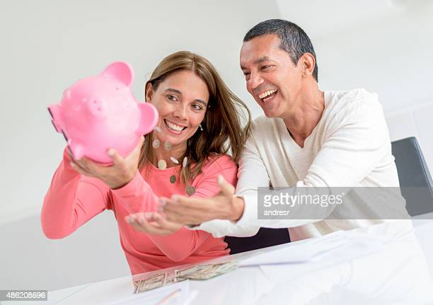 Couple using their savings
