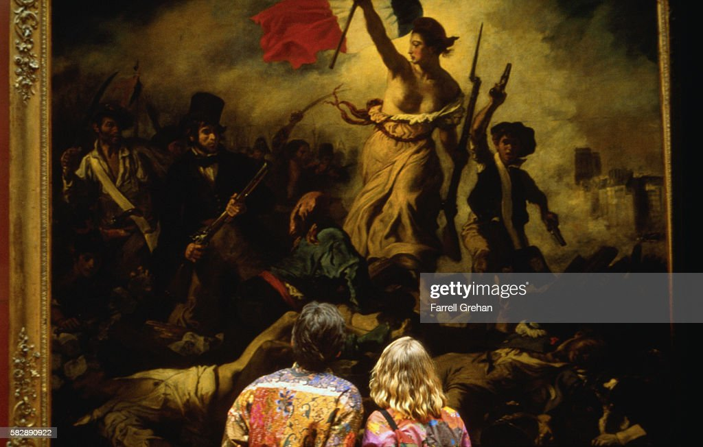 Couple Viewing Liberty Leading the People (July 28, 1830) by Eugene Delacroix : Stockfoto