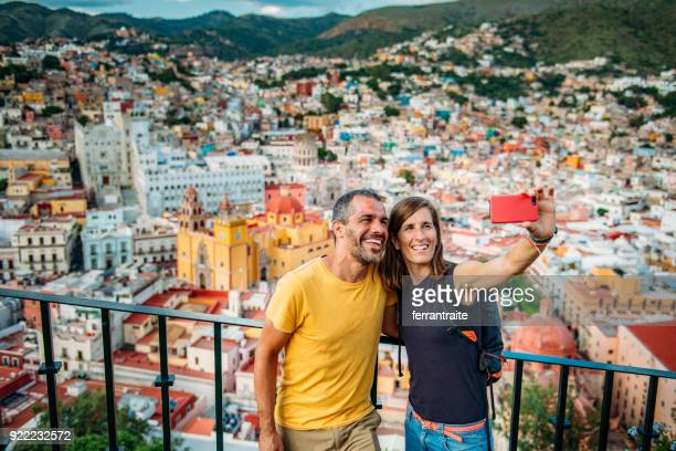 couple visiting guanajuato mexico - tourist attraction stock pictures, royalty-free photos & images