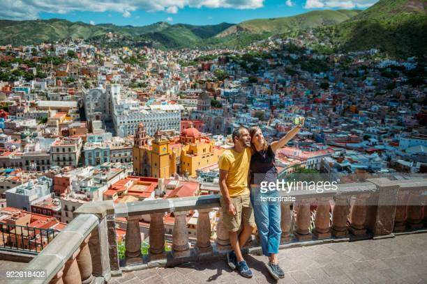 couple visiting guanajuato mexico - guanajuato stock pictures, royalty-free photos & images