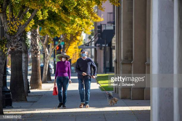 Couple walk their dog along Colorado Blvd. Where several businesses have closed and many struggle to stay open during California state-mandated...