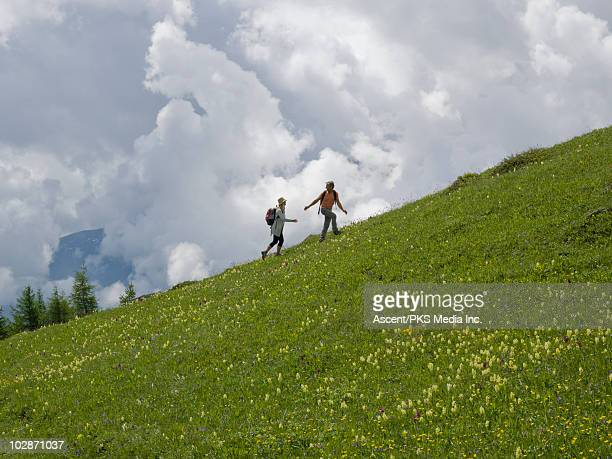 couple walk up mountain meadow ridge, storm clouds - cresta de montanha - fotografias e filmes do acervo