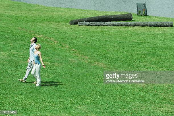 couple walking across lawn, turning faces toward sun, full length, high angle view - 中距離 ストックフォトと画像